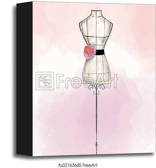 Art Block Print Of Hand Draw Fashion Illustration Hand Draw Fashion Illustration Watercolor Mannequin Wearing Gown Freeart Fa32163645