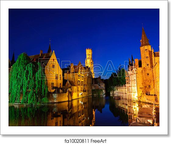 Old Room At Dusk: Free Art Print Of Bruges, Belgium. View From The