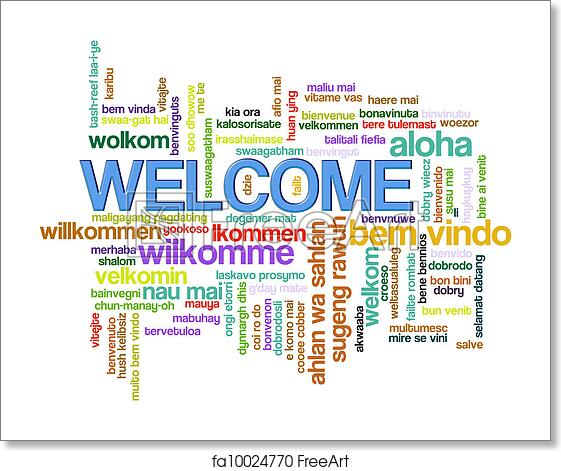free art print of welcome word tags illustration of wordcloud of
