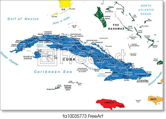 photo relating to Printable Map of Cuba named No cost artwork print of Cuba political map