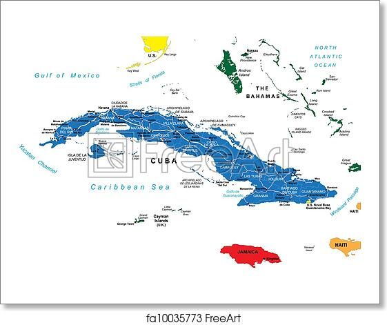 Free Art Print Of Cuba Political Map Highly Detailed Map Of Cuba