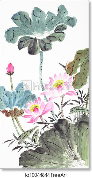Free art print of Abstract lotus-Traditional Chinese Painting