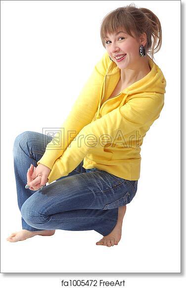 art print of Nice girl sit on the floor