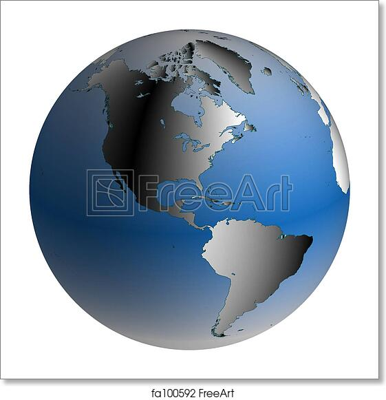 Map Of The World Globe View.Free Art Print Of World Globe America With Blue Shaded Oceans
