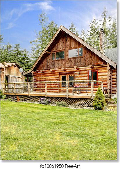 Free art print of Rustic log small cabin deck exterior. Horse farm Stamped Log Home Porch Designs Html on