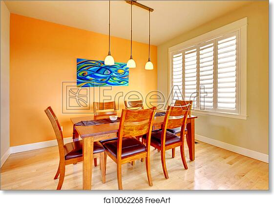 Free Art Print Of Dining Room With Blue Painting And Wood Table Orange Hardwood Floor