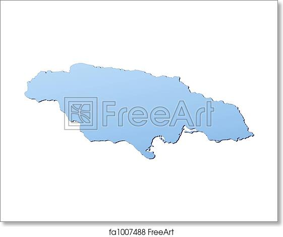 Free art print of Jamaica map. Jamaica map filled with light blue ...