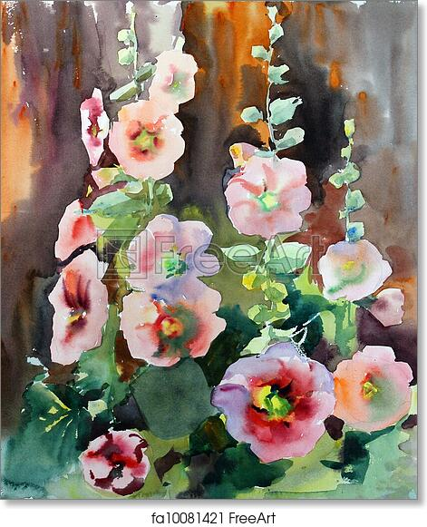 photograph about Free Printable Watercolor Pictures to Paint identified as No cost artwork print of Watercolor portray of the eye-catching bouquets mallow.