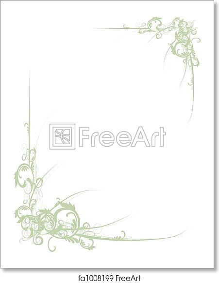 free art print of scroll border green fancy green scroll floral