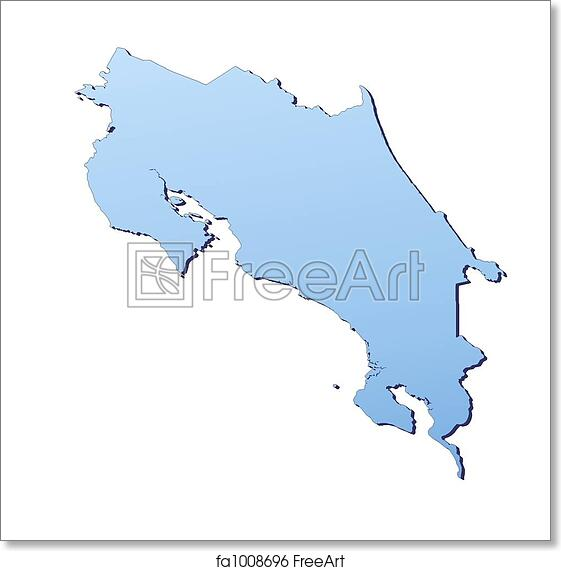 image regarding Printable Map of Costa Rica named Absolutely free artwork print of Costa Rica map