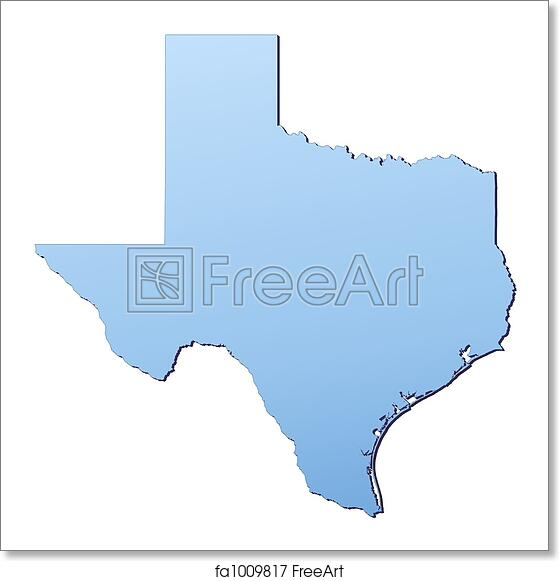 photograph relating to Printable Maps of Texas identify Totally free artwork print of Texas(United states of america) map