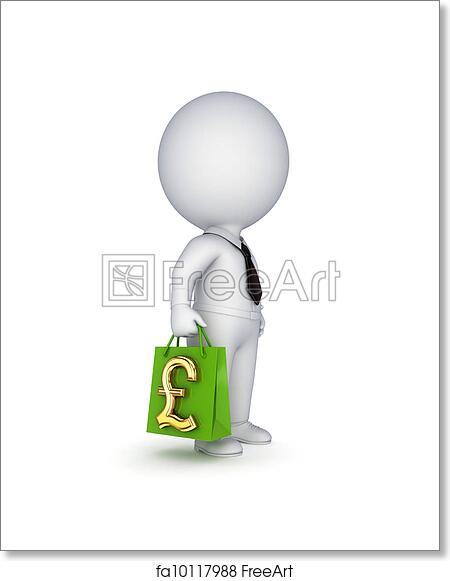 Free art print of 3d small person with a plastic bag in a hands