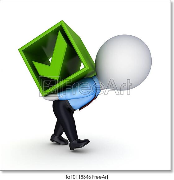Free art print of 3d small person and green tick mark