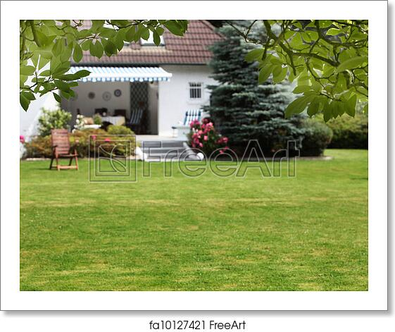 Free Art Print Of Small House With Beautiful Garden Small House With Beautiful Garden And A Large Green Lawn Freeart Fa10127421