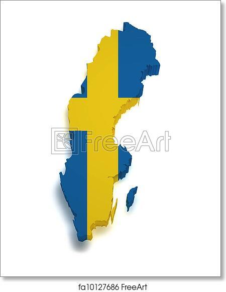 Free Art Print Of Sweden Map D Shape Shape D Of Swedish Flag - Sweden map 3d