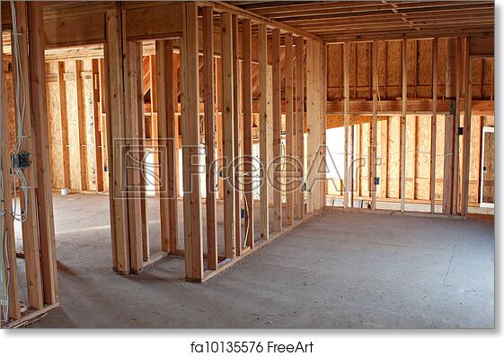 Free art print of New Construction Framing Interior Home Wiring Construction on