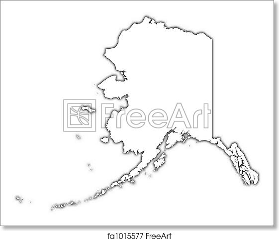 graphic regarding Printable Map of Alaska known as Free of charge artwork print of Alaska (United states) define map