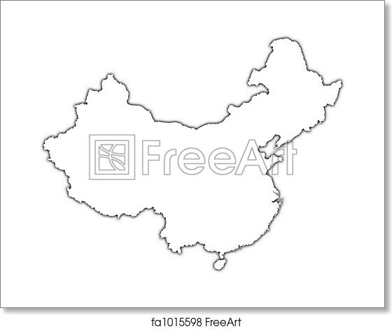 Free art print of China outline map. China outline map with shadow ...
