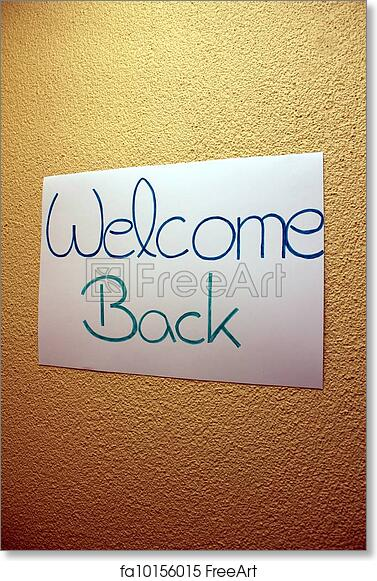 free art print of plain welcome back sign on yellow wall