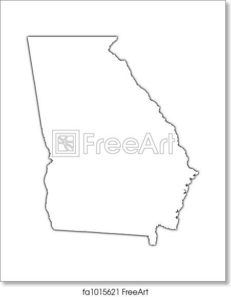 Outline Of Georgia Map.Free Art Print Of Georgia Usa Outline Map