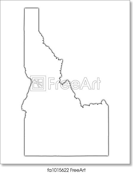 graphic relating to Printable Map of Idaho named Cost-free artwork print of Idaho (United states) determine map