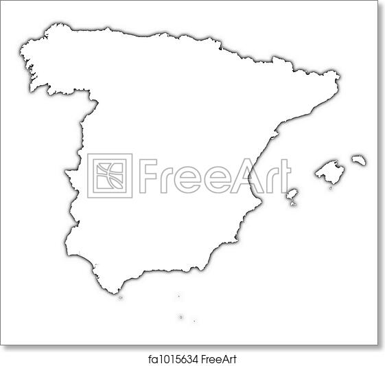 Map Of Spain Drawing.Free Art Print Of Spain Outline Map Spain Outline Map With Shadow
