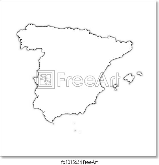 Free Art Print Of Spain Outline Map Spain Outline Map With Shadow