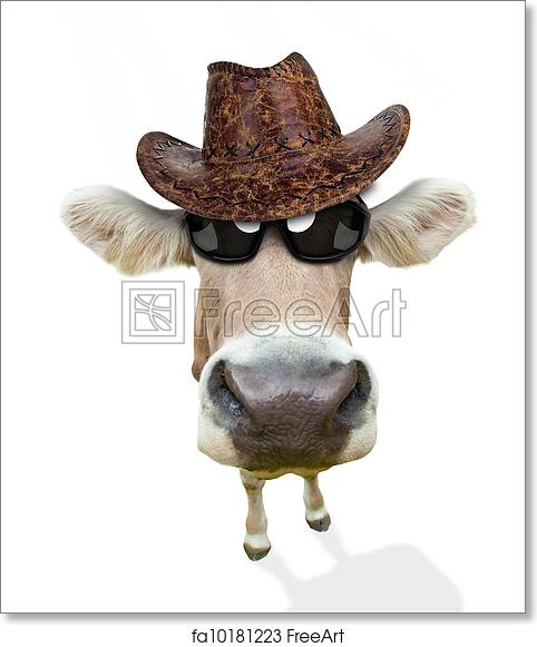 graphic regarding Printable Cow Hat titled No cost artwork print of Amusing cow