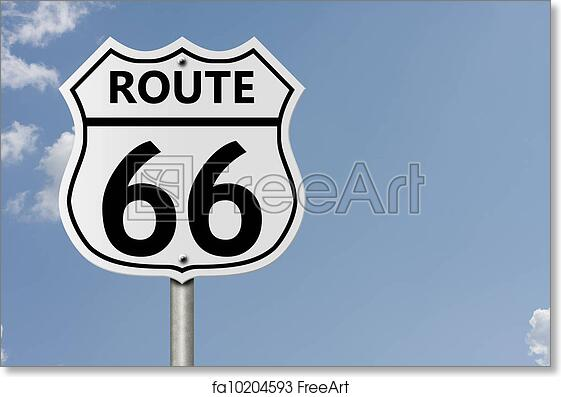 Free Art Print Of Taking Route 66 An American Interstate Road Sign