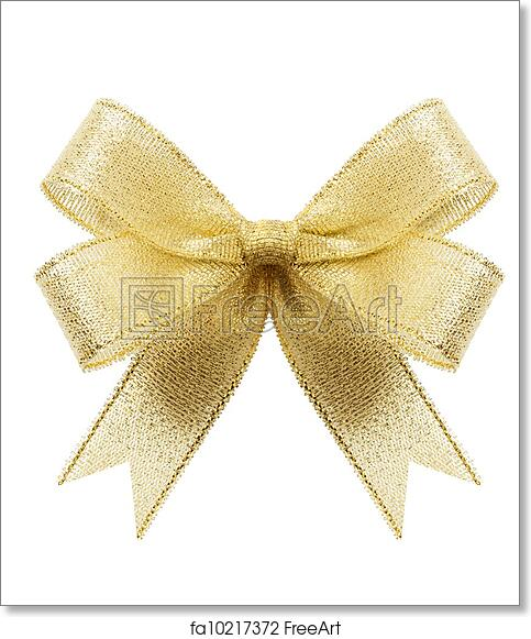 free art print of golden gift bow ribbon isolated on white
