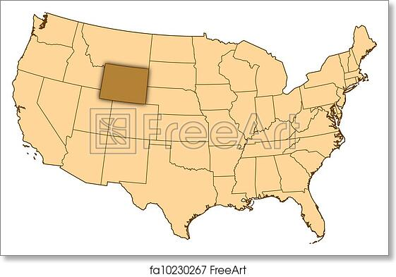 Free Art Print Of Map Of United States Wyoming Highlighted Map Of - Wyoming-us-map