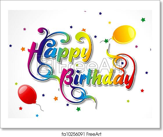 Abstract Happy Birthday Card Vector Illustrator