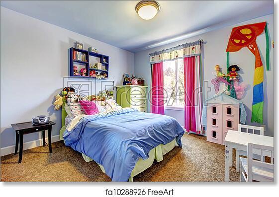 Free art print of Blue girls bedroom interior. Child room.
