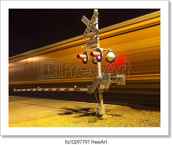 Free art print of Railroad crossing with passing trai