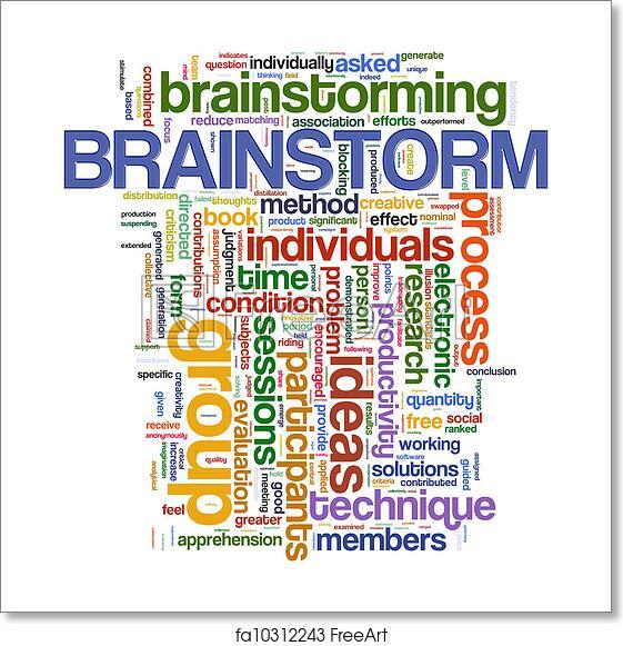 free art print of brainstorm word tags illustration of wordcloud
