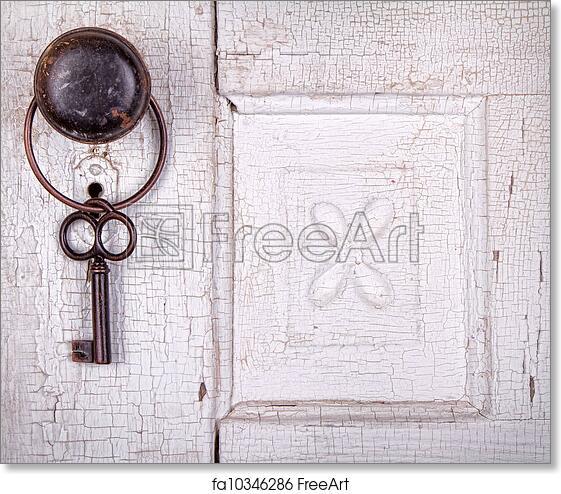 Free art print of Vintage key hanging on a vintage door. Vintage key ...