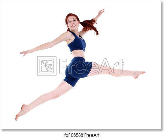 Free art print of Beautiful Teenage Girl in Workout Clothes Leaping