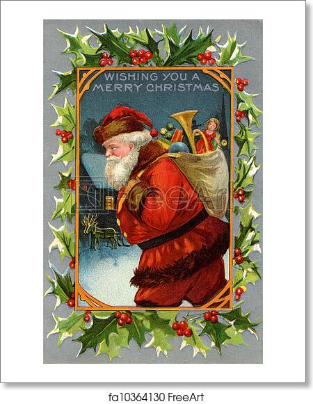 Vintage Christmas Card.Free Art Print Of Vintage Christmas Card Of Santa Claus And A Sack Full Of Gifts