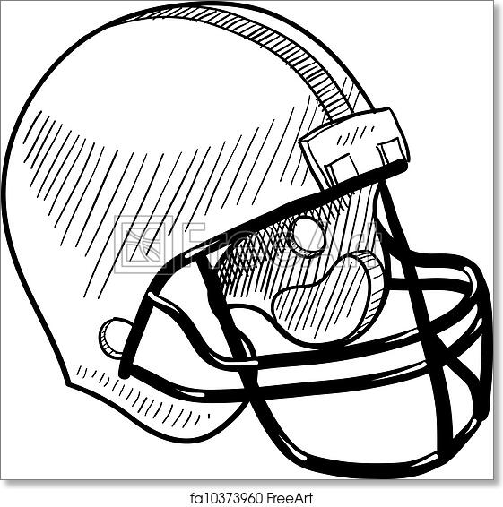 picture regarding Printable Football Helmet titled Totally free artwork print of Soccer helmet sketch