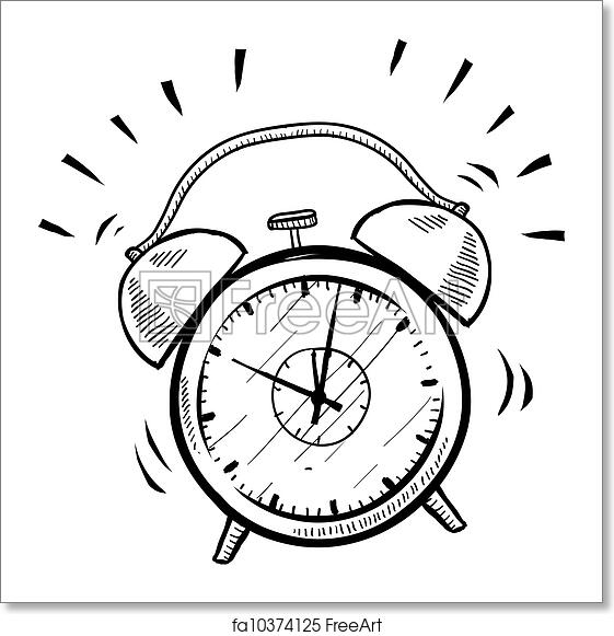 Free art print of Retro alarm clock sketch