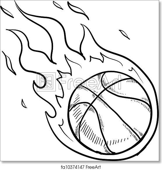 free art print of flaming basketball sketch doodle style flaming 20 X 20 Frame Tent doodle style flaming basketball illustration in vector format