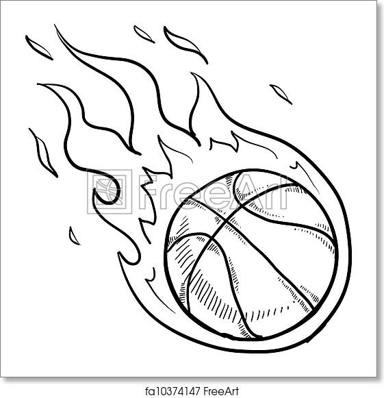 Free art print of Flaming basketball sketch. Doodle style