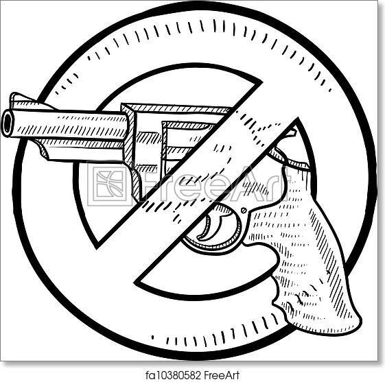 Free Art Print Of Handgun Ban Sketch Doodle Style Handgun Ban Or