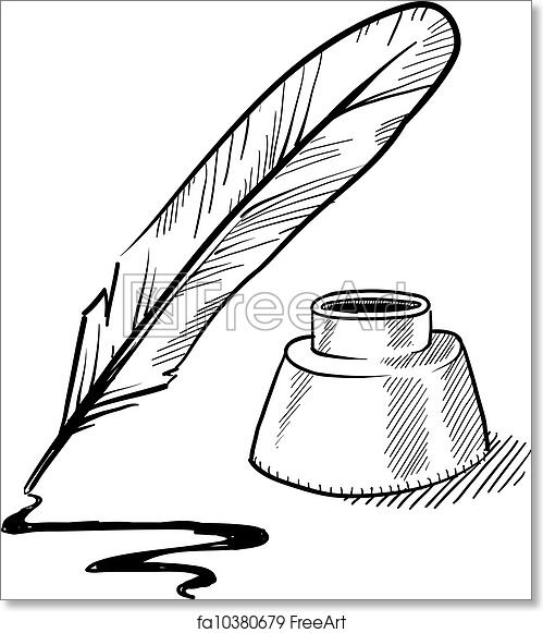 free art print of quill pen and inkwell sketch doodle