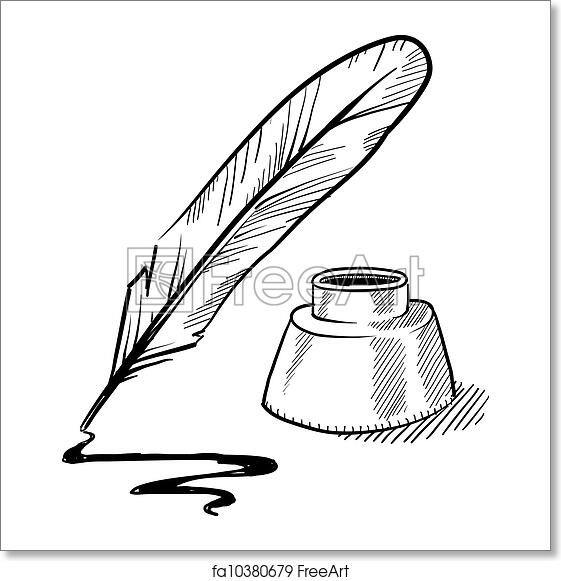 Quill And Inkwell Drawing Free art print ...