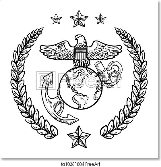 Free Art Print Of Us Marine Corps Military Insignia Doodle Style