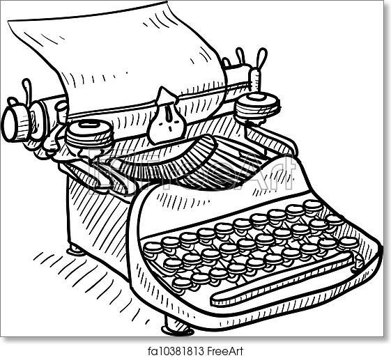 Free art print of Vintage manual typewriter sketch. Doodle