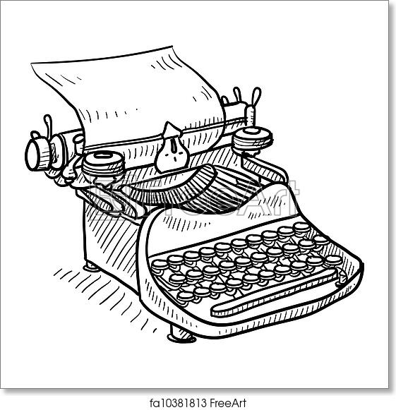 Free art print of Vintage manual typewriter sketch. Doodle