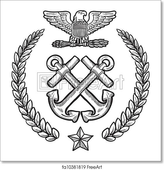 Free Art Print Of Us Navy Military Insignia Doodle Style Military