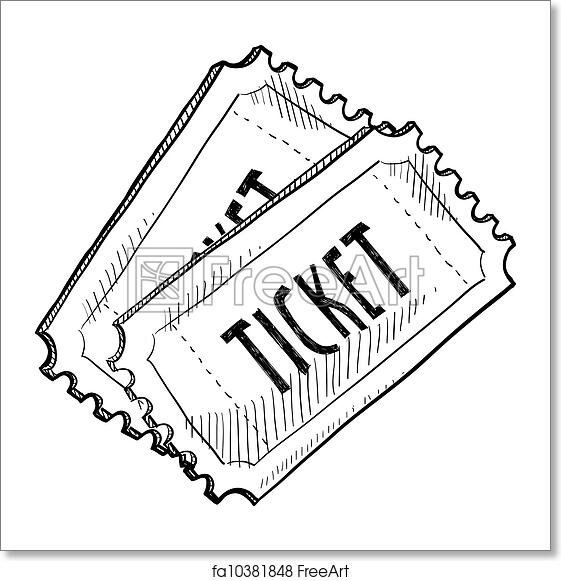 free art print of event ticket sketch doodle style concert or movie